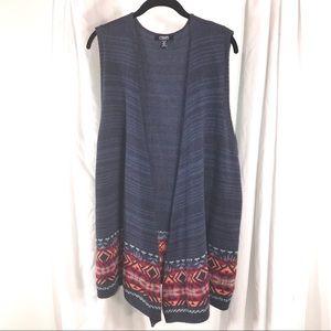 Sweaters - Chaps Southwestern Sweater Long Vest, Size XL